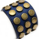 Leather Style Navy Blue Brass Studs Bracelet Wrap Cuff Armor Rivets Chunky Statement Unisex