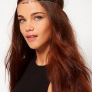 Cross Forehead Headband Boho Indie Bohemian Gypsy Head Chain Jewelry Silver Accessory Black Elastic