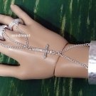 Cross Hand Chain Slave Bracelet Rings Hammered Style Cuff Bangle Boho Chains Matte Silver Crystals