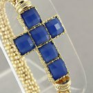Cross Bracelet Sapphire Blue Color Gold Stretch Cuff Faceted Beads