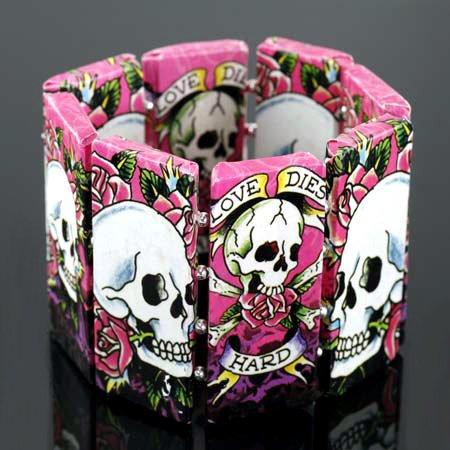 Skull & Rose Tattoo Bracelet Day of the Dead Decoupage Art ...