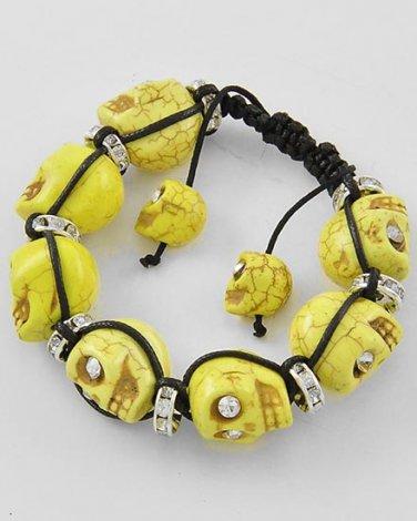 Day of the Dead Skull Cuff Bracelet Yellow Black Crystal Eyes Shamballa Howlite Dia de Los Muertos