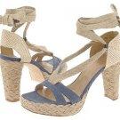 Stuart Weitzman Womens Size 9.5 Espadrille Shoes Bandana Navy Denim Lace Ankle Wrap Platform Heels