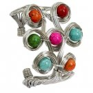 Chunky Natural Turquoise Cuff Bracelet Blue Red Pink Green Orange Stones Silver Wire