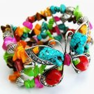 Butterfly Bracelet Natural Turquoise Stones Crystals Beads Antique Silver Stretch