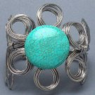 Chunky Natural Turquoise Stone Cuff Bracelet Blue Silver Wire Wrap