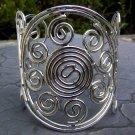 Swirl & Circle Design Cuff Bracelet Silver Designer Style Openwork Bangle Art Artistic Wire Wrap