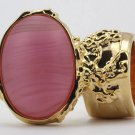 Arty Oval Ring Frosted Pink Glass Vintage Gold Armor Knuckle Art Statement Avant Garde Size 8.5