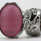 Arty Oval Ring Frosted Pink Glass Vintage Silver Armor Knuckle Art Statement Avant Garde Size 8.5