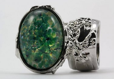 Arty Oval Ring Green Opal Vintage Glass Silver Chunky Armor Knuckle Art Statement Cage Deco Size 8.5