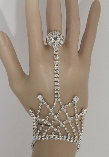 Bridal Hand Chain & Ring Combo Crystals Bracelet Silver Body Jewelry Evening Wedding Fashion