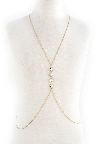 Body Chain Boho Avant Garde Fashion Glass Gold Chain Jewelry Armor Statement
