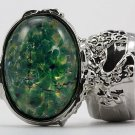 Arty Oval Ring Green Opal Vintage Glass Silver Chunky Armor Knuckle Art Statement Cage Deco Size 9