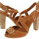BCBG Max Azria Isreal Womens 9.5 Shoes Chunky Heels Pumps Dark Tan Criss Cross Straps Buckle Leather