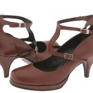 Type Z Gemma T-Strap Shoes Strappy Pump Heels Brown Leather Buckles Made in Italy Womens Size 8