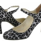 Type Z Animal Print Womens Size 8 7.5 Shoes Strappy Pumps Heels Silver Leopard Black Gray Satin