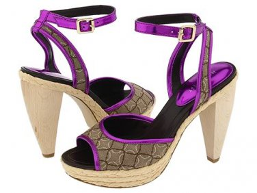 Nine West Ciscoann Platform Shoes Pumps Sandal Heels Chunky Metallic Pink Purple Tan Womens 9.5