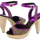 Nine West Ciscoann Platform Shoes Pumps Sandal Heels Chunky Metallic Pink Purple Tan Womens 8.5