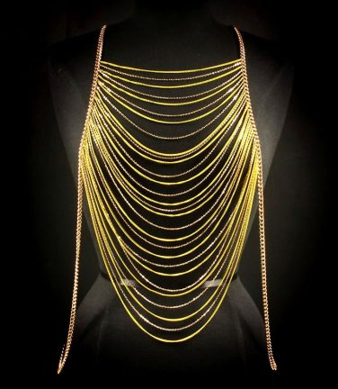 Body Chain Yellow Gold Neon Runway Draping Chains Multi Layer Avant Garde Metal Armor
