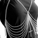 Body Chain Ribcage Harness with Large Cross Pendant Silver Armor Boho Bohemian Statement Avant Garde