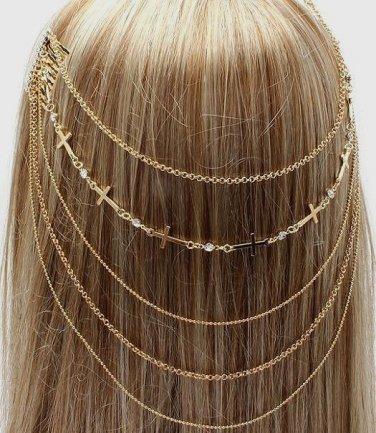 Headchain Cross Crystal Studs Hair Comb Gold Hair Accessory Statement Avant Garde Jewelry Fashion
