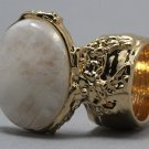 Arty Oval Ring Moonstone Gemstone Gem Gold Chunky Knuckle Art Statement Avant Garde Size 4.5