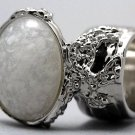 Arty Oval Ring White Specks Chunky Silver Armor Vintage Knuckle Art Statement Avant Garde Size 8