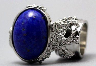 Arty Oval Ring Lapis Blue Vintage Glass Gold Flecks Chunky Silver Knuckle Art Statement Size 5