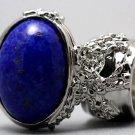 Arty Oval Ring Lapis Blue Vintage Glass Gold Flecks Chunky Silver Knuckle Art Statement Size 8.5