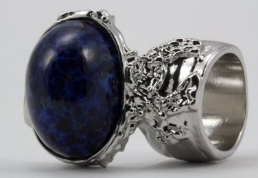 Arty Oval Ring Lapis Blue Vintage Glass Gold Flecks High Domed Chunky Silver Knuckle Art Size 5