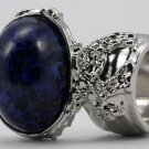 Arty Oval Ring Lapis Blue Vintage Glass Gold Flecks High Domed Chunky Silver Knuckle Art Size 8.5