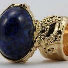 Arty Oval Ring Lapis Blue Vintage Glass Gold Flecks High Domed Statement Chunky Knuckle Art Size 10