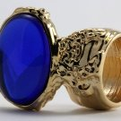 Arty Oval Ring Sapphire Blue Vintage Glass Gold Chunky Armor Knuckle Art Statement Deco Size 5.5