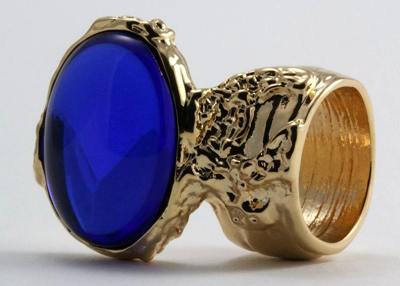 Arty Oval Ring Sapphire Blue Vintage Glass Gold Chunky Armor Knuckle Art Statement Deco Size 10