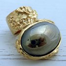 Arty Oval Ring Hematite Mirror Vintage Gold Chunky Armor Knuckle Art Statement Avant Garde Size 8.5