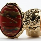 Arty Oval Ring Carnelian Terra Cotta Orange Gold Chunky Armor Knuckle Art Statement Deco Size 4.5