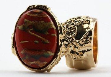 Arty Oval Ring Carnelian Terra Cotta Orange Gold Chunky Armor Knuckle Art Statement Deco Size 8