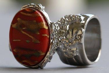 Arty Oval Ring Carnelian Terra Cotta Orange Silver Chunky Armor Knuckle Art Statement Deco Size 6