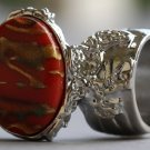 Arty Oval Ring Carnelian Terra Cotta Orange Silver Chunky Armor Knuckle Art Statement Deco Size 8