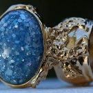 Arty Oval Ring Blue Glitter Opal Vintage Designer Gold Chunky Armor Knuckle Art Statement Size 10