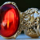 Arty Oval Ring Ruby Red Vintage Glass Designer Gold Chunky Armor Knuckle Art Statement Size 8.5