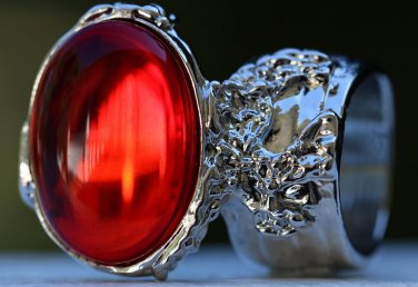 Arty Oval Ring Ruby Red Vintage Glass Designer Silver Chunky Armor Knuckle Art Statement Size 6