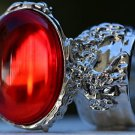 Arty Oval Ring Ruby Red Vintage Glass Designer Silver Chunky Armor Knuckle Art Statement Size 8.5