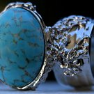 Arty Oval Ring Turquoise Glass Designer Vintage Silver Chunky Armor Knuckle Art Statement Size 8.5