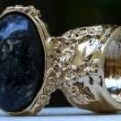 Arty Oval Ring Black Brown Marble Gold Chunky Armor Vintage Knuckle Art Fashion Statement Size 4.5