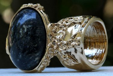 Arty Oval Ring Black Brown Marble Gold Chunky Armor Vintage Knuckle Art Fashion Statement Size 10