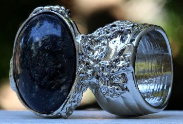Arty Oval Ring Black Brown Marble Silver Chunky Armor Vintage Knuckle Art Fashion Statement Size 10