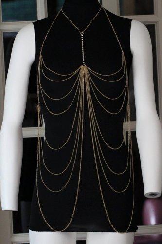 Body Chain Draping Metal Chains Crystals Gold Armor Designer Runway Fashion Statement Avant Garde