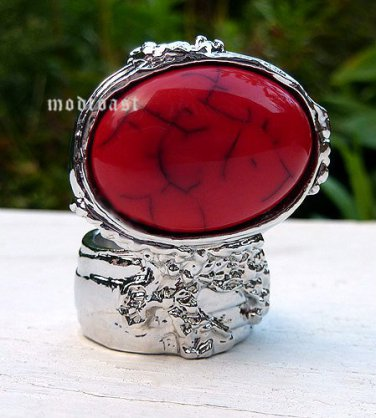 Arty Oval Ring Red Black Silver Knuckle Art Chunky Artsy Armor Avant Garde Statement Size 5