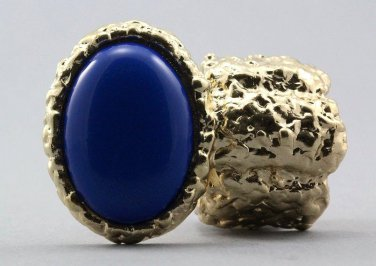 Arty Oval Ring Blue Royal Gold Chunky Armor Knuckle Art Statement Avant Garde Stretch Size 7 - 8.5